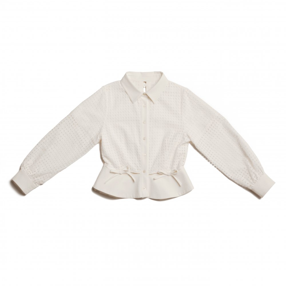 THE SQUARE SEE-THROUGH BACK RIBBON BLOUSE TOPS (WHITE)