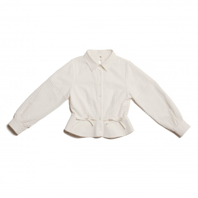 GYF TOKYO - THE SQUARE SEE-THROUGH BACK RIBBON BLOUSE TOPS (WHITE)