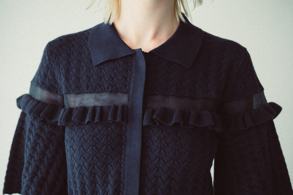 THE SEE-THROUGH SPRING KNIT TOPS (NAVY)