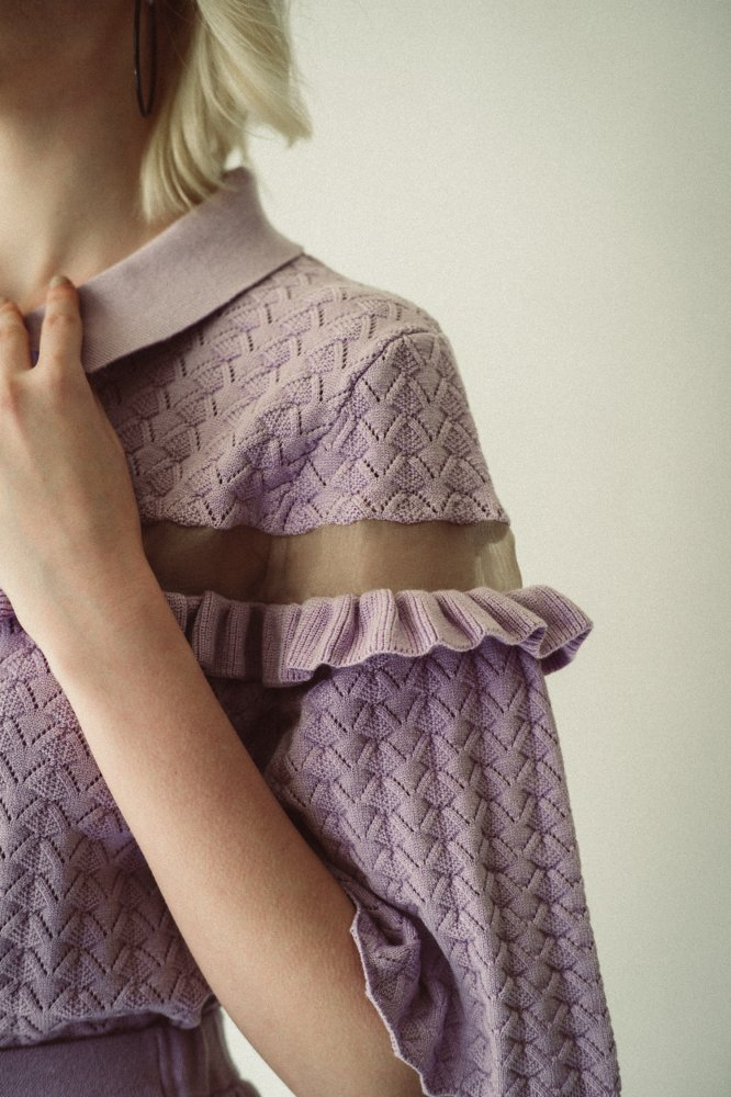 THE SEE-THROUGH SPRING KNIT FLARE SKIRT(LAVENDER)