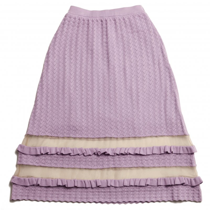 GYF TOKYO - THE SEE-THROUGH SPRING KNIT FLARE SKIRT(LAVENDER)