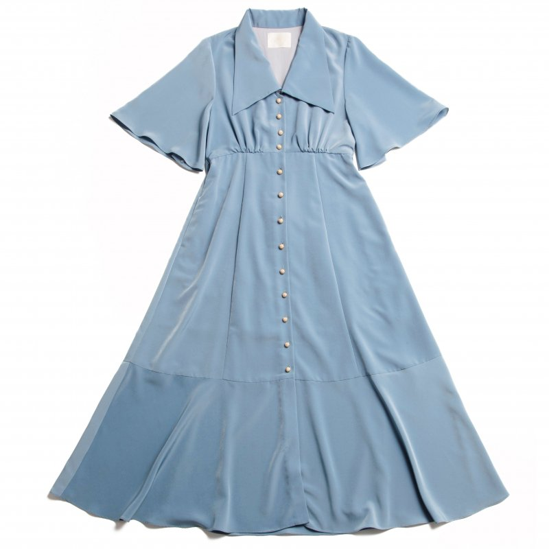 GYF TOKYO - THE TRIANGLE COLLAR MAXI DRESS (LIGHT BLUE)