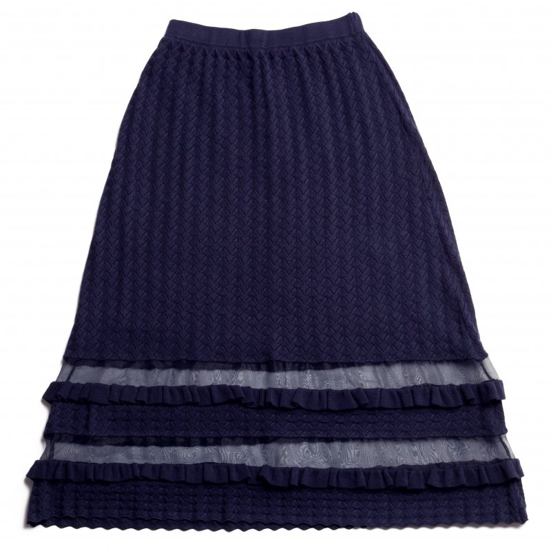 GYF TOKYO - THE SEE-THROUGH SPRING KNIT FLARE SKIRT(NAVY)