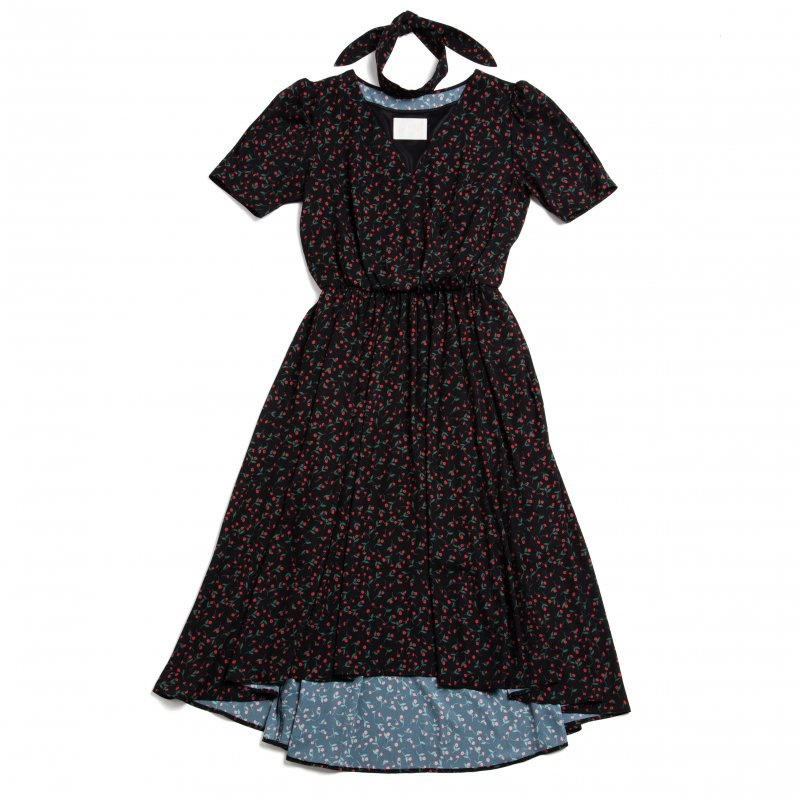 GYF TOKYO - THE PETIT FLOWER CROSSOVER DRESS WITH SCARF (BLACK)