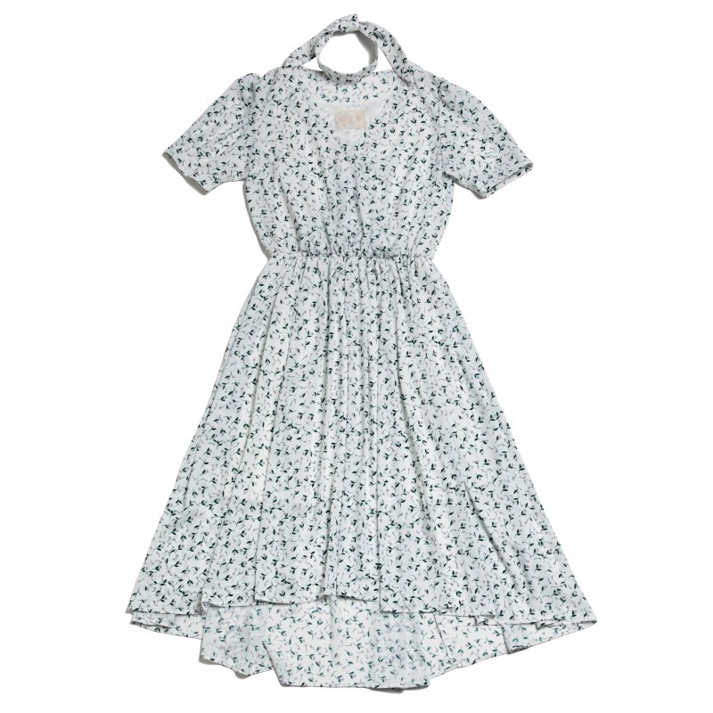 GYF TOKYO - THE PETIT FLOWER CROSSOVER DRESS WITH SCARF (WHITE)