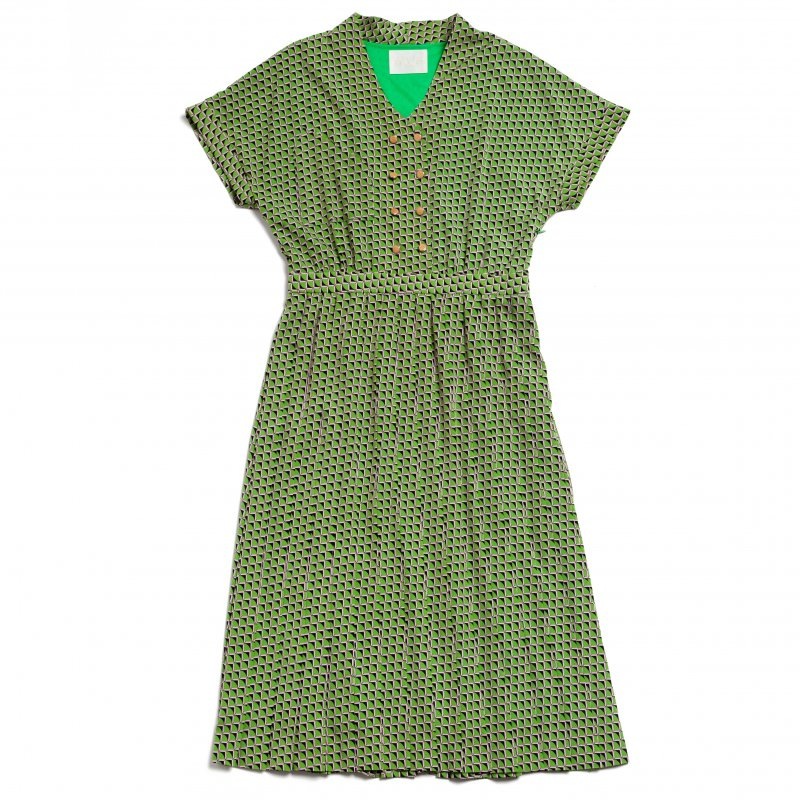 GYF TOKYO - THE SQUARE PATTERN PLEATED DRESS (LIGHT GREEN)