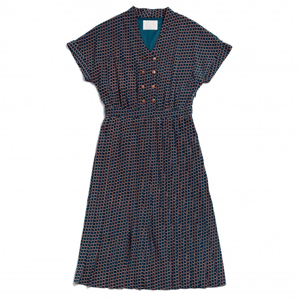 THE SQUARE PATTERN PLEATED DRESS (BLUE)
