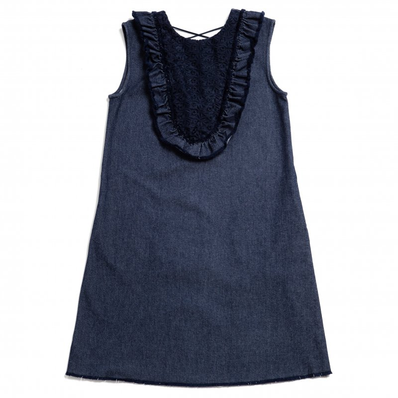 GYF TOKYO - THE DENIM FRILL SLEEVELESS DRESS