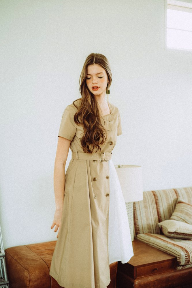 THE TRENCH ASYMMETRY DRESS(BEIGE)