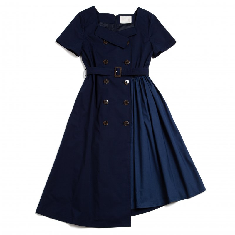 GYF TOKYO - THE TRENCH ASYMMETRY DRESS(NAVY)<img class='new_mark_img2' src='https://img.shop-pro.jp/img/new/icons21.gif' style='border:none;display:inline;margin:0px;padding:0px;width:auto;' />