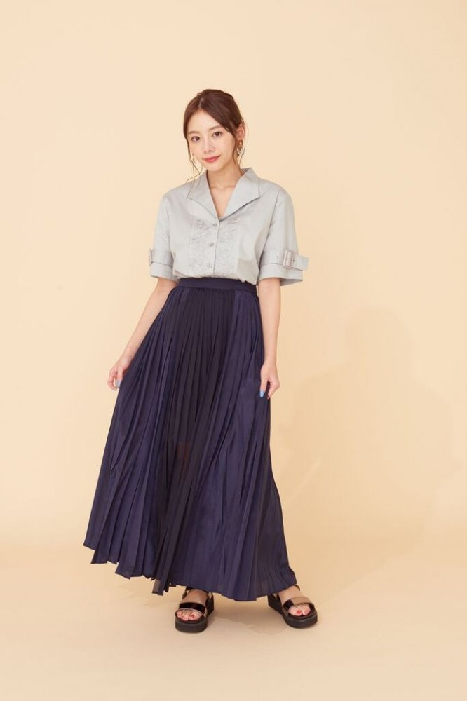 THE SEE-THROUGH PLEATED LONG SKIRT(NAVY)