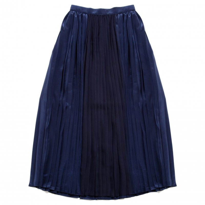 GYF TOKYO - THE SEE-THROUGH PLEATED LONG SKIRT(NAVY)