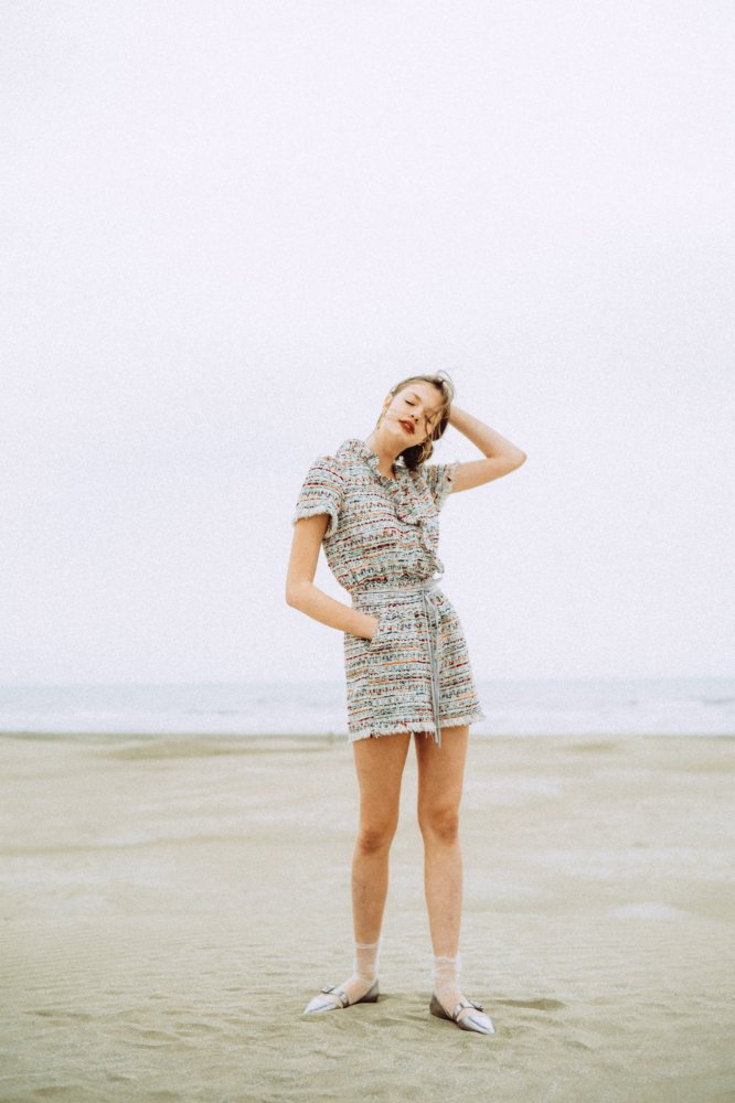 THE DOUBLE RIBBON TWEED ROMPERS