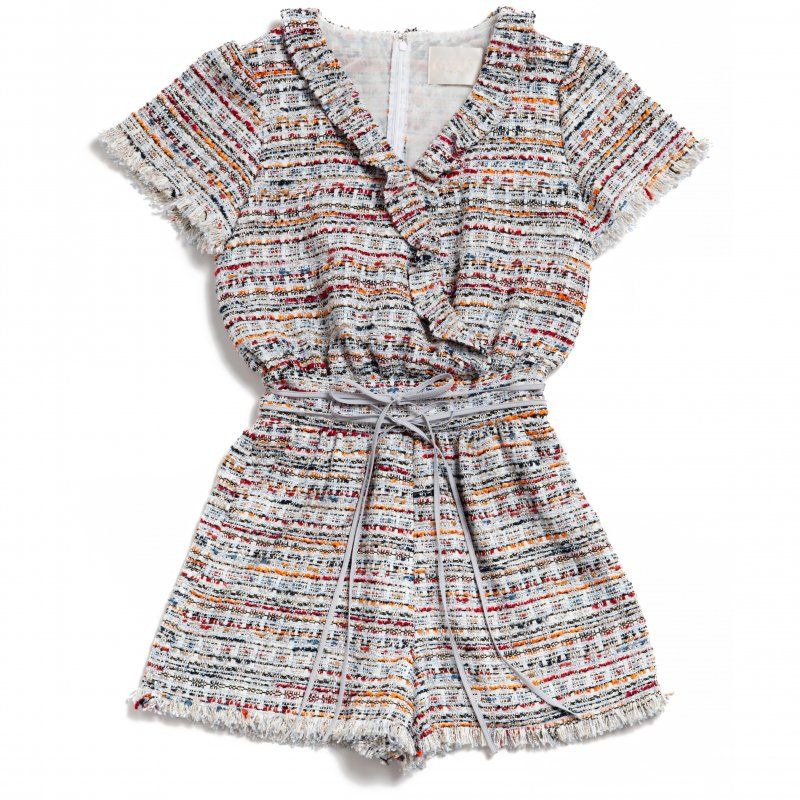 GYF TOKYO - THE DOUBLE RIBBON TWEED ROMPERS