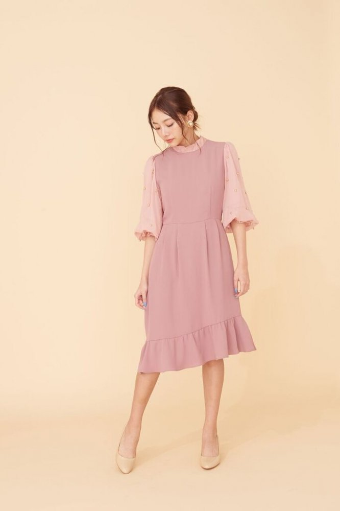 THE PEARL VOLUME SLEEVE OCCASION DRESS(PINK BEIGE)