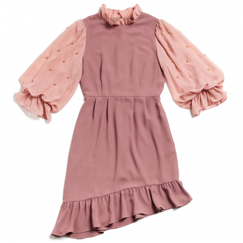 GYF TOKYO - THE PEARL VOLUME SLEEVE OCCASION DRESS(PINK BEIGE)