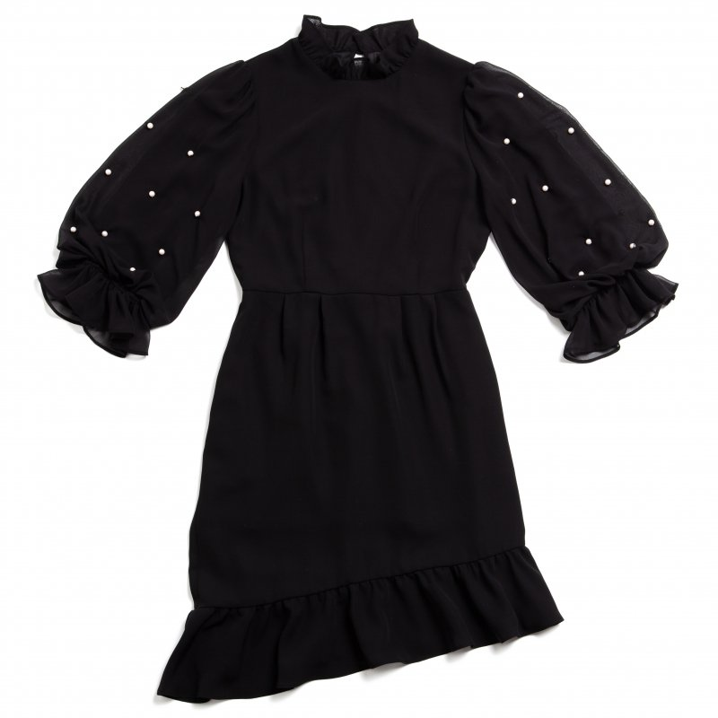 GYF TOKYO - THE PEARL VOLUME SLEEVE OCCASION DRESS(BLACK)
