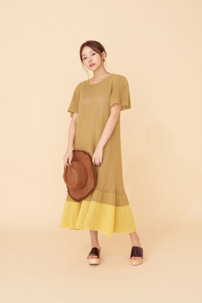 THE SUMMER KNIT RELAX BI-COLOR DRESS(YELLOW)