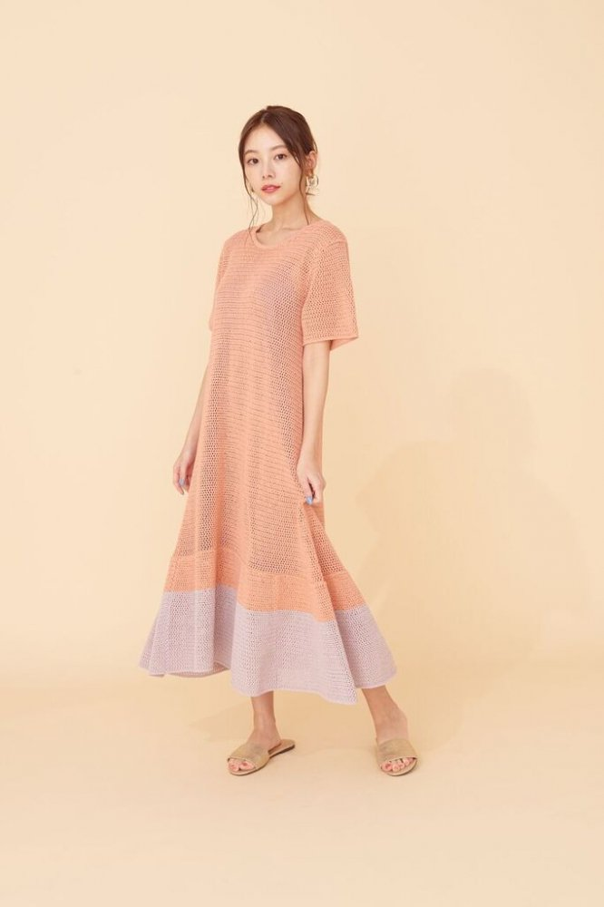 THE SUMMER KNIT RELAX BI-COLOR DRESS(PINK)