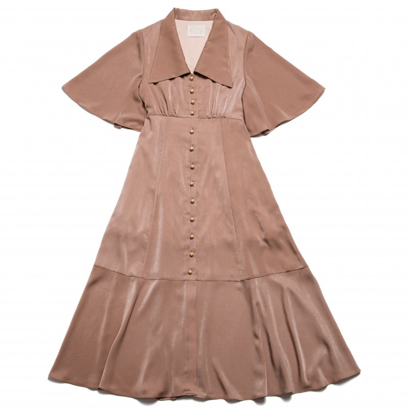 GYF TOKYO - THE TRIANGLE COLLAR MAXI DRESS (BEIGE)
