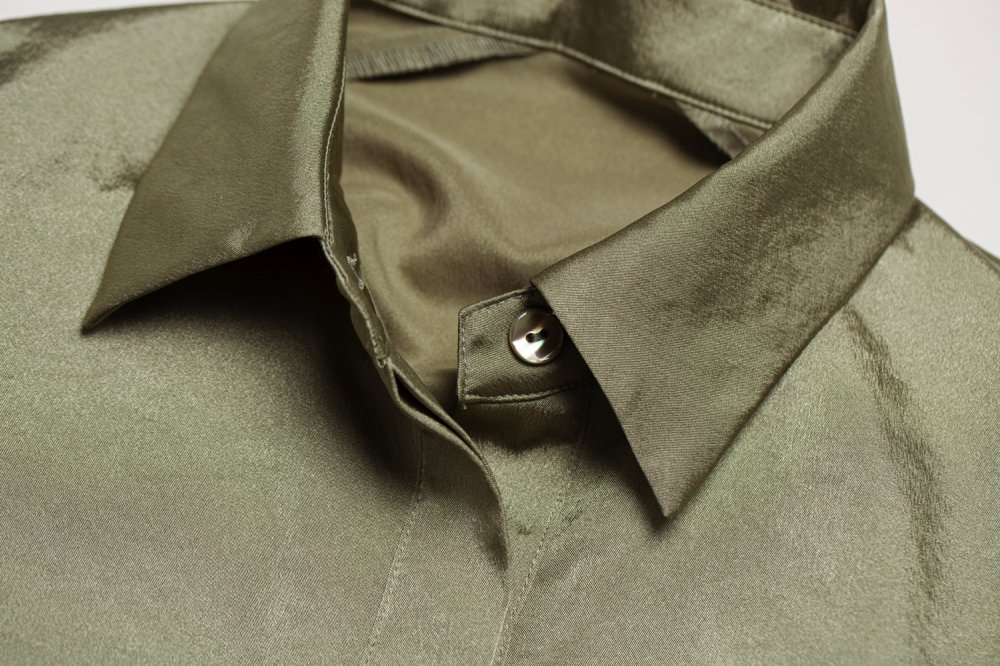 THE ALL SATIN SHIRT DRESS (KHAKI)