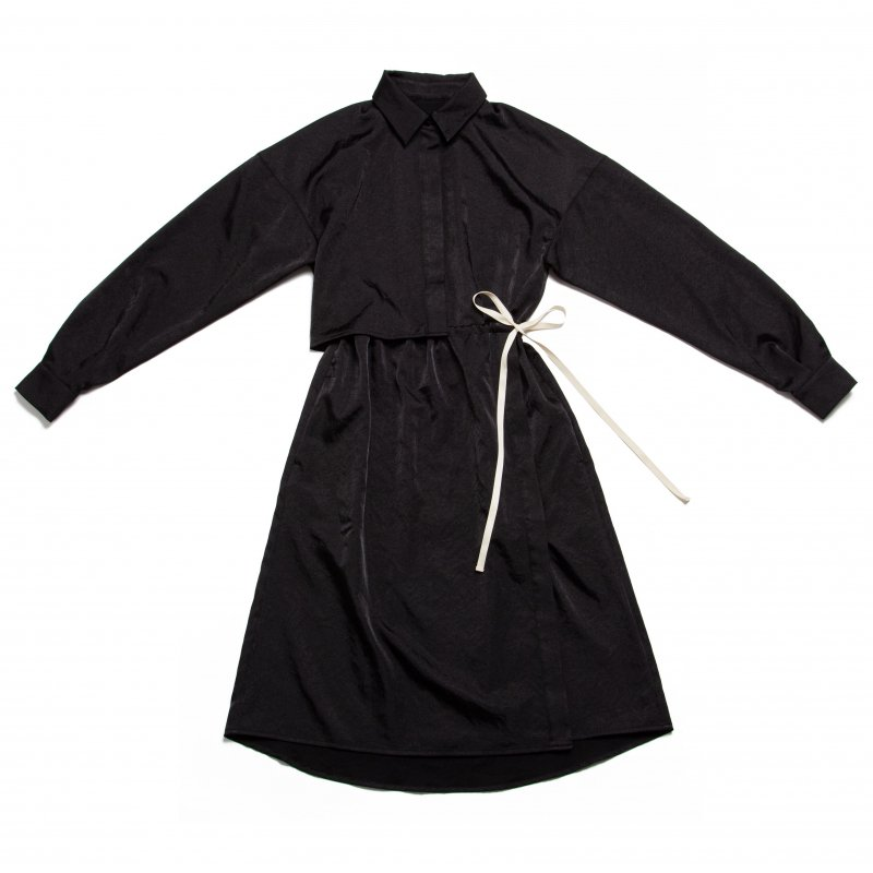 GYF TOKYO - THE ALL SATIN SHIRT DRESS (BLACK)