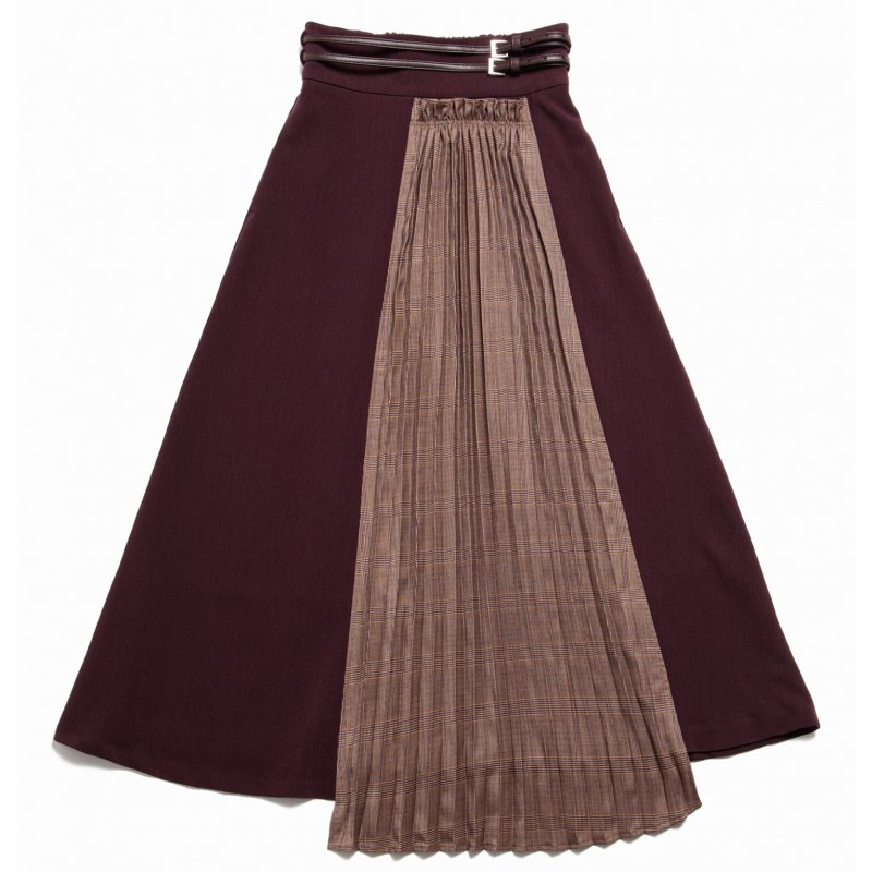 GYF TOKYO - THE CHECK PLEATS DOCKING SKIRT WITH BELT