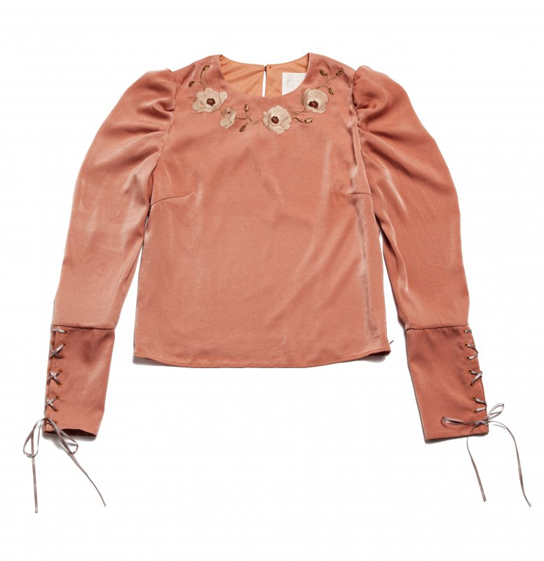 GYF TOKYO - THE FLOWER EMBROIDERY POWER SHOLDER TOPS (ORANGE)