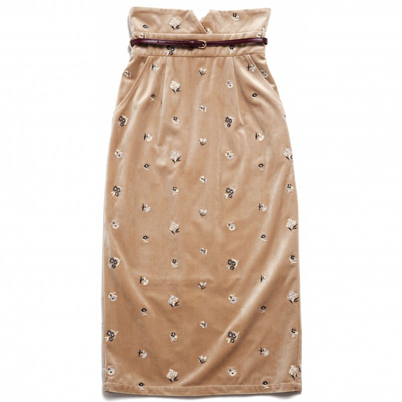 GYF TOKYO - THE HIGH-WAISTED SKIRT WITH BELT (BEIGE)