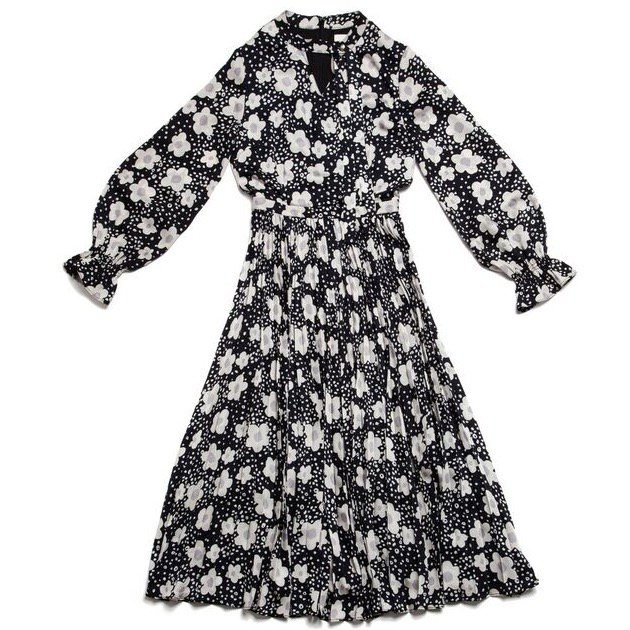 GYF TOKYO - THE BIG FLOWER PATTERN PLEATED DRESS