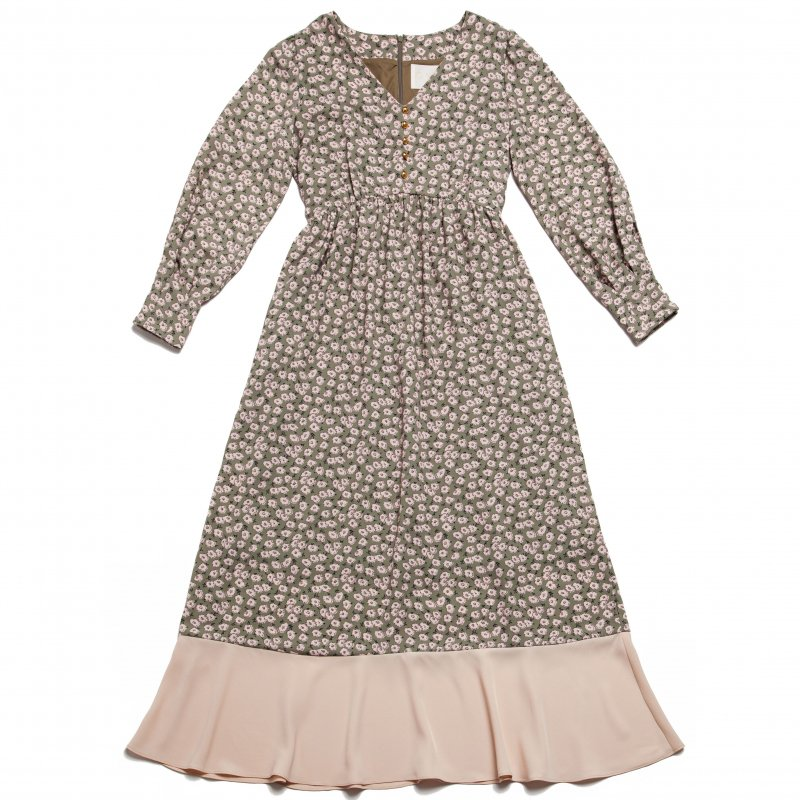 GYF TOKYO - THE HEM FLARED FLOWER PATTERN DRESS (PINK)