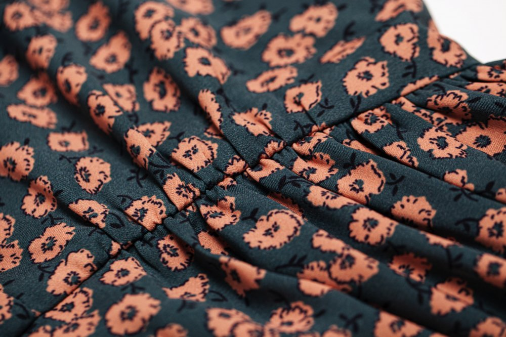 THE HEM FLARED FLOWER PATTERN DRESS (ORANGE)