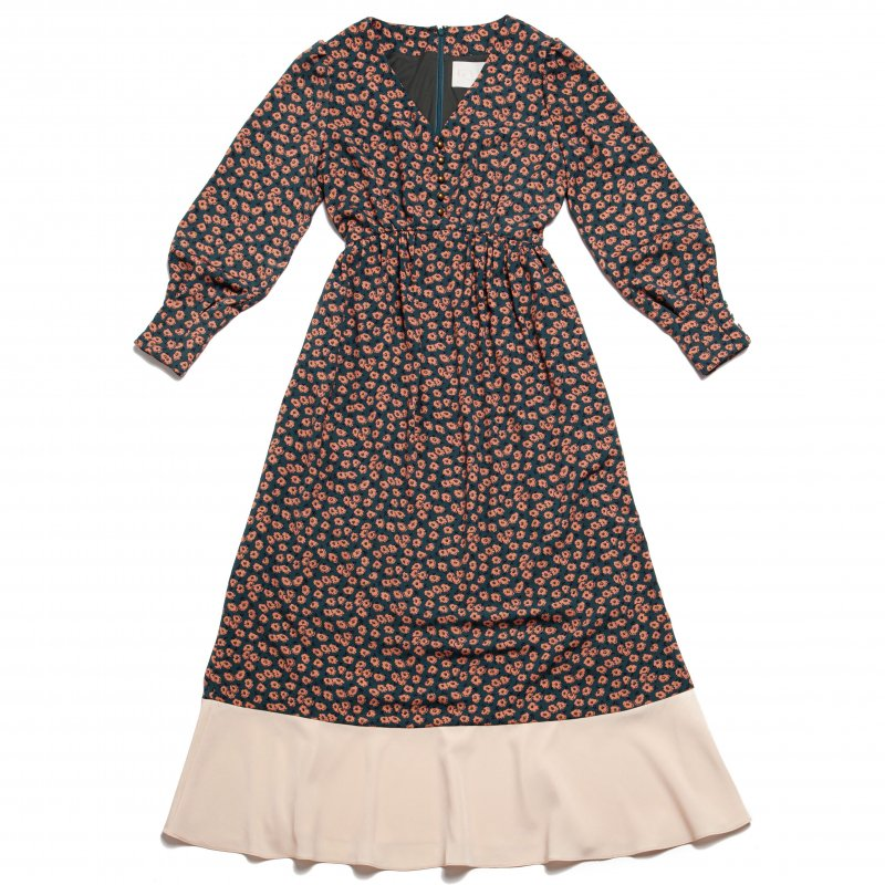 GYF TOKYO - THE HEM FLARED FLOWER PATTERN DRESS (ORANGE)