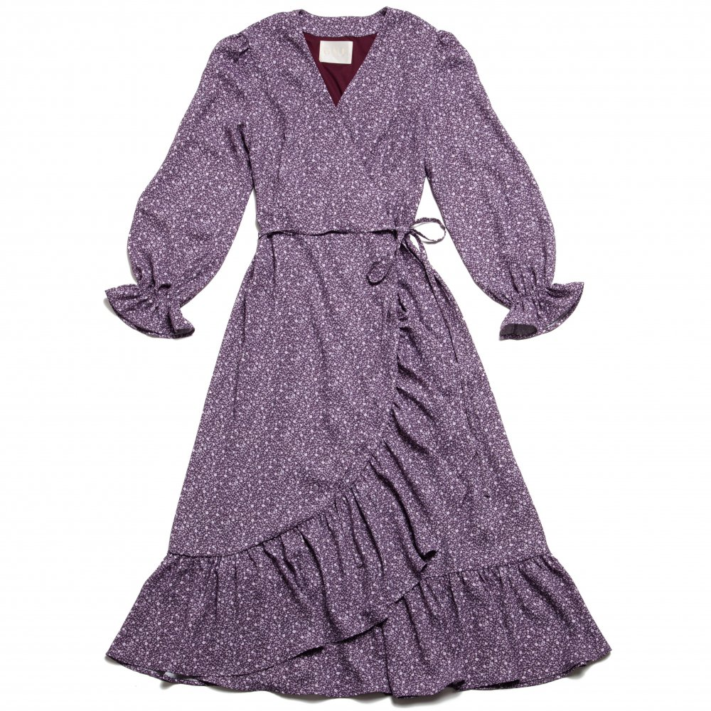 THE FLOWER PATTERN CROSSOVER FRILL DRESS (PURPLE)