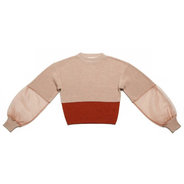 THE SEE-THROUGH SLEEVE BICOLOR REVIVAL KNIT (PINK)