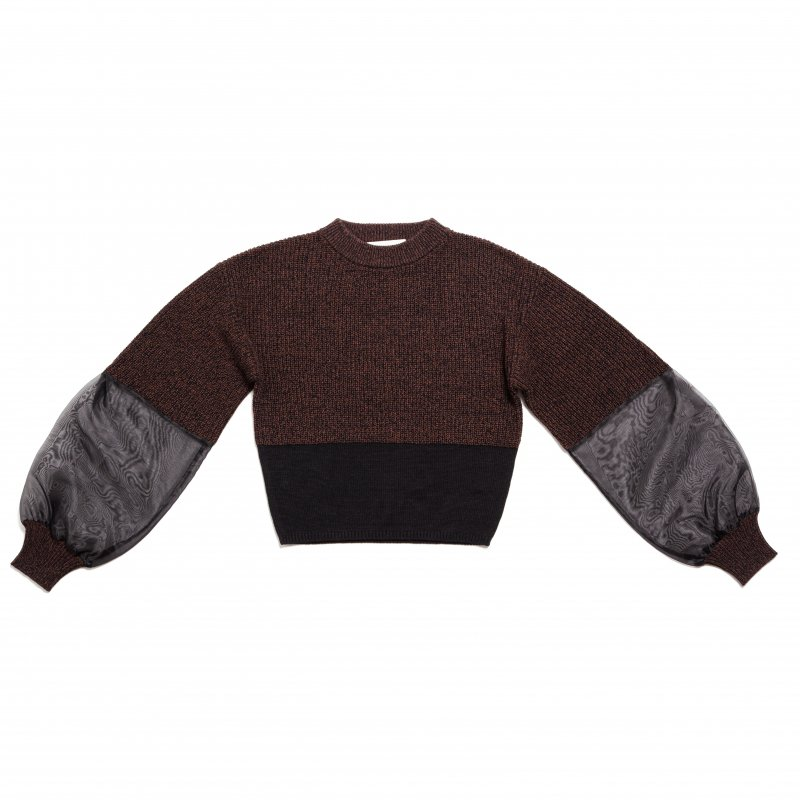 GYF TOKYO - THE SEE-THROUGH SLEEVE BICOLOR REVIVAL KNIT (BLACK)