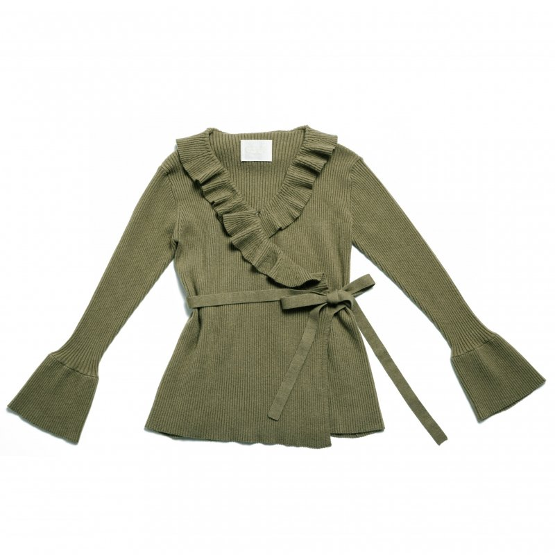 GYF TOKYO - THE CROSSOVER RIBBED KNIT TOPS (KHAKI)