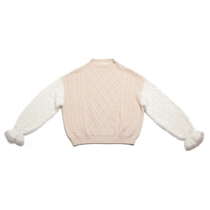 GYF TOKYO - THE SHAGGY DOCKING ROUND NECK KNIT (OFF WHITE)<img class='new_mark_img2' src='https://img.shop-pro.jp/img/new/icons21.gif' style='border:none;display:inline;margin:0px;padding:0px;width:auto;' />