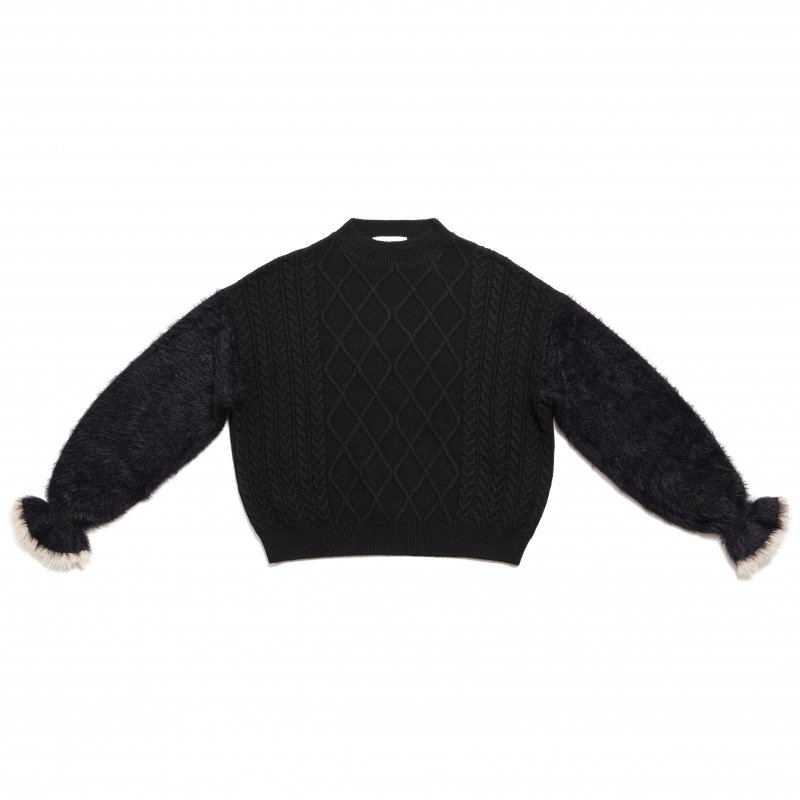 GYF TOKYO - THE SHAGGY DOCKING ROUND NECK KNIT (BLACK)