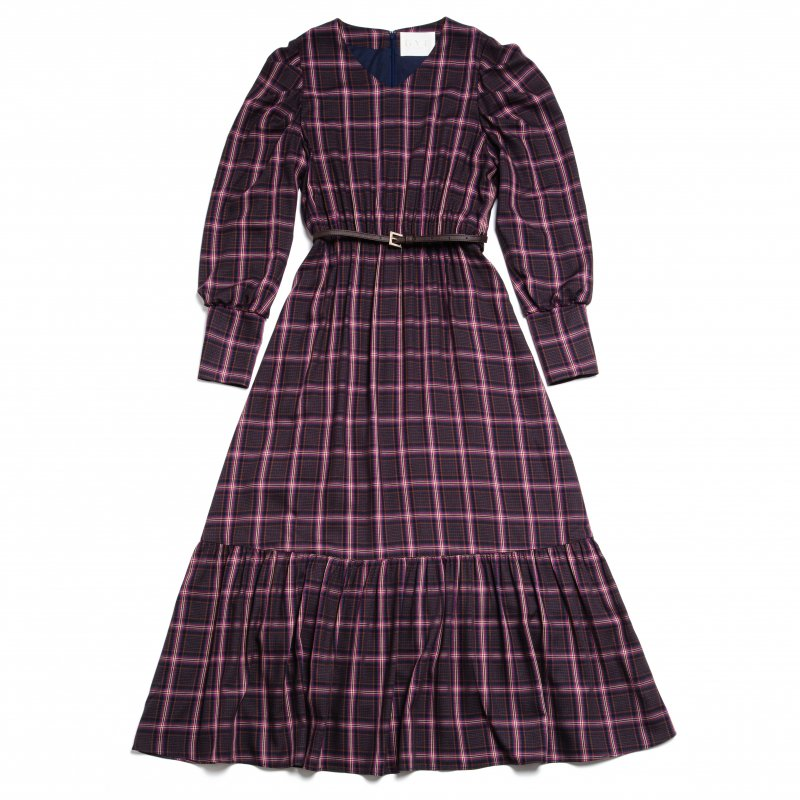 GYF TOKYO - THE BIG CHECK PATTERN DRESS WITH BELT (NAVY)