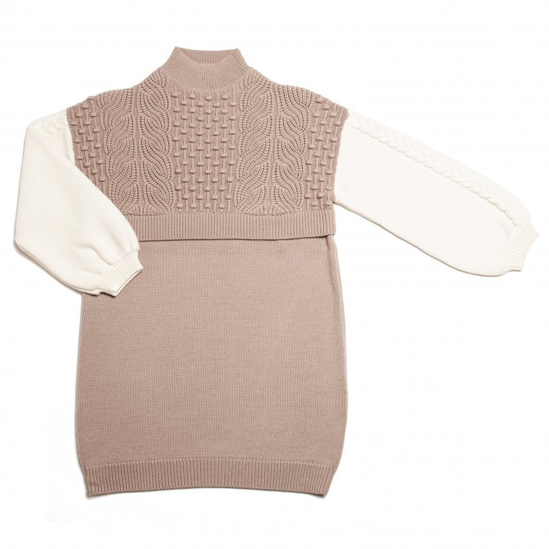 GYF TOKYO - THE HIGH NECK BICOLOR CABLE KNIT DRESS (BEIGE)