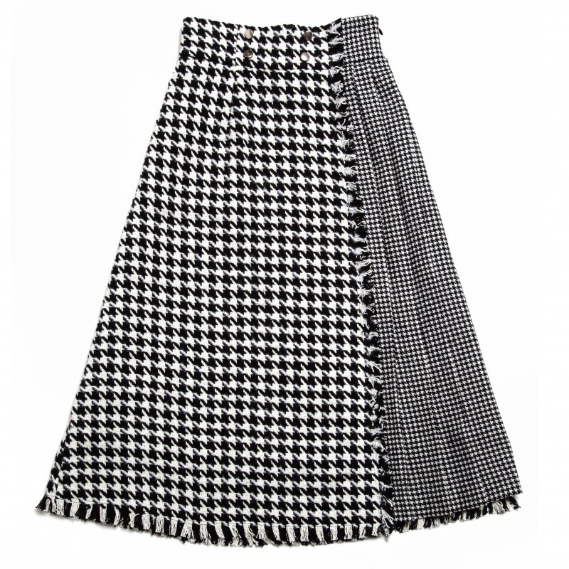 GYF TOKYO - THE DOUBLE HOUNDSTOOTH PLEATS DOCKING SKIRT