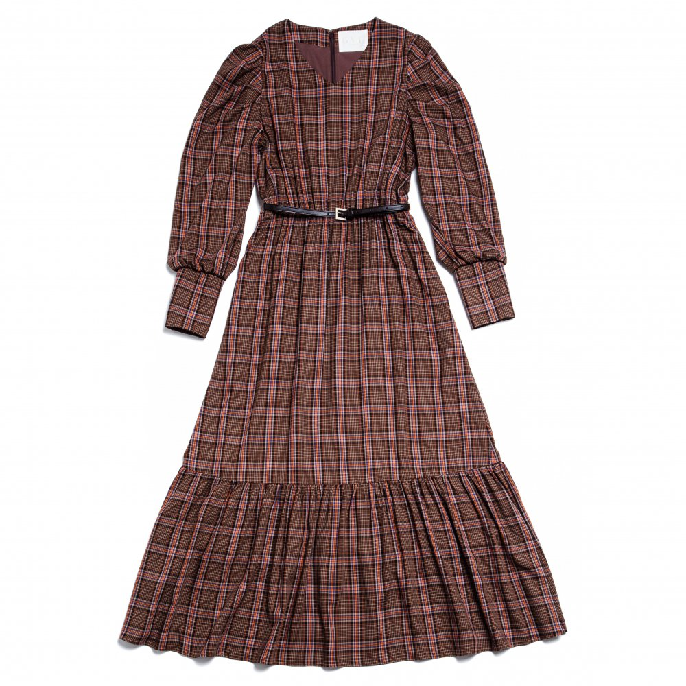 THE BIG CHECK PATTERN DRESS WITH BELT (BROWN)