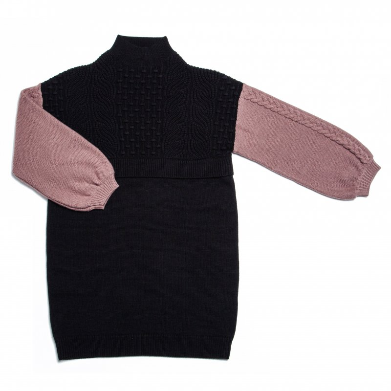 GYF TOKYO - THE HIGH NECK BICOLOR CABLE KNIT DRESS (BLACK)