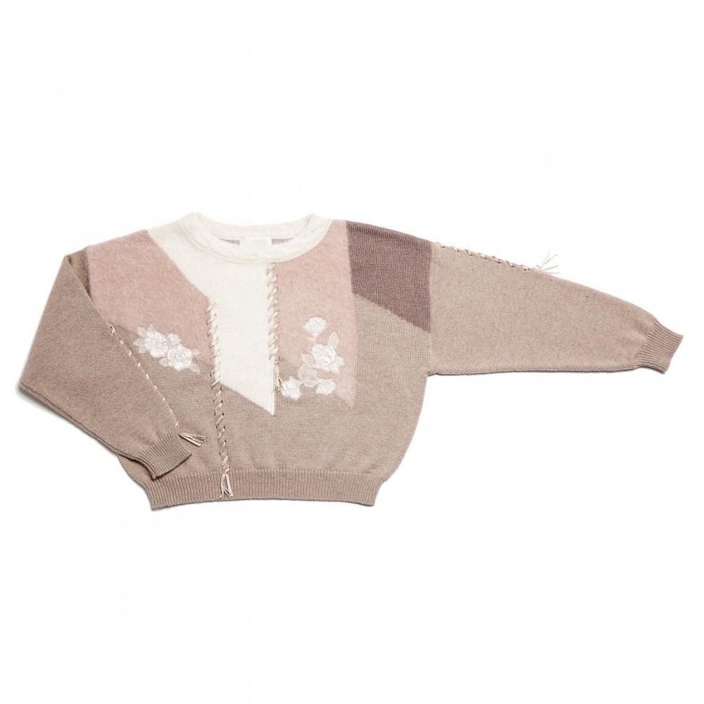 THE LAME RIBBON EMBROIDERY MULTICOLOR KNIT TOPS (PINK BEIGE)
