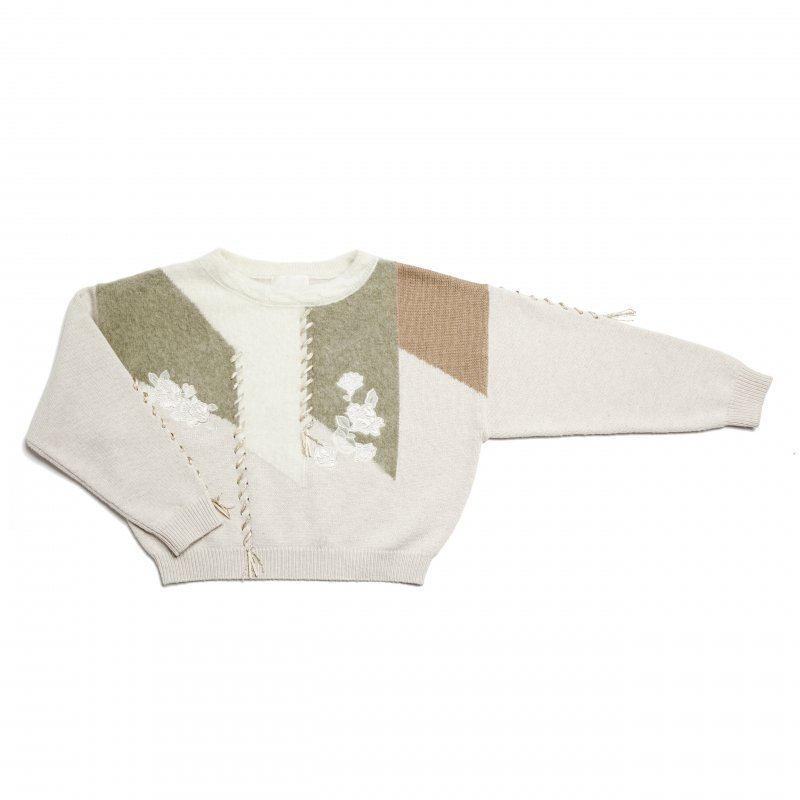 GYF TOKYO - THE LAME RIBBON EMBROIDERY MULTICOLOR KNIT TOPS (MOSS GREEN)