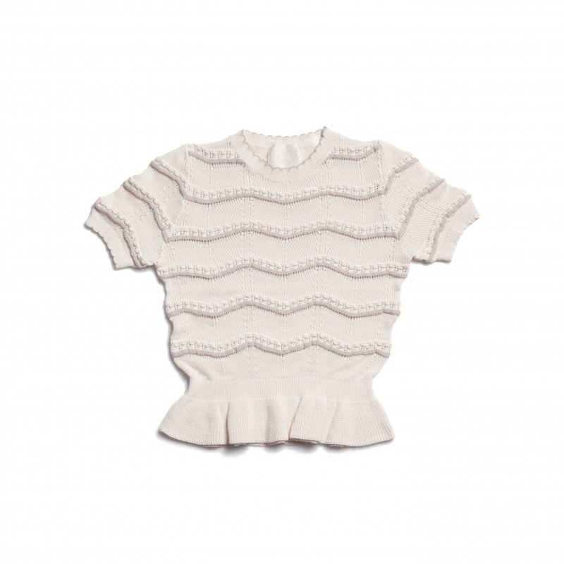 GYF TOKYO - THE SPRING KNIT PEPLUM TOPS(IVORY)