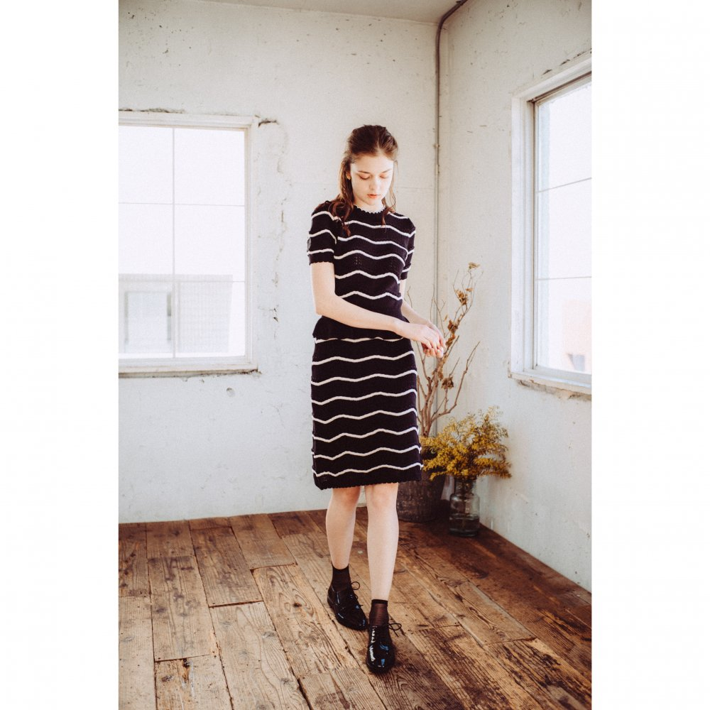 THE SPRING KNIT STRAIGHT SKIRT(BLACK)