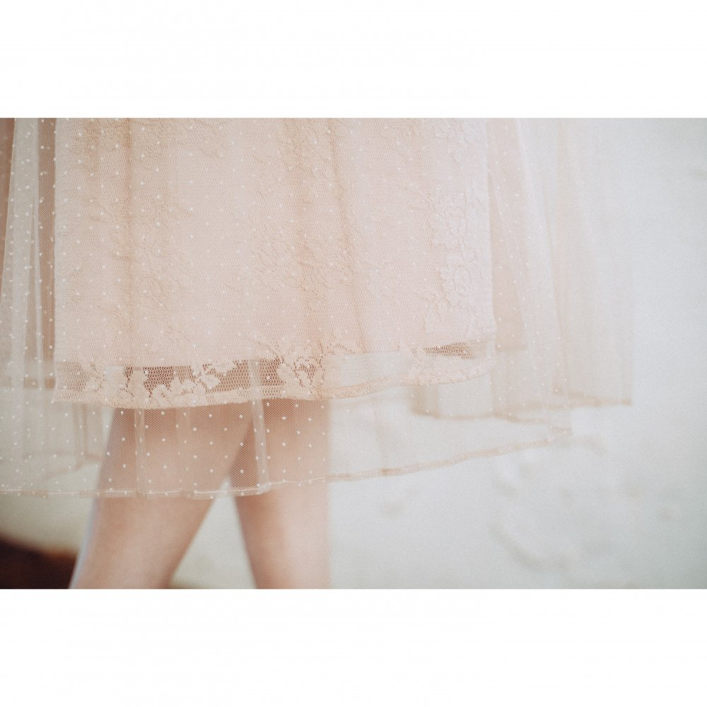 THE DOT TULLE PLEATED DRESS(PINK BEIGE)