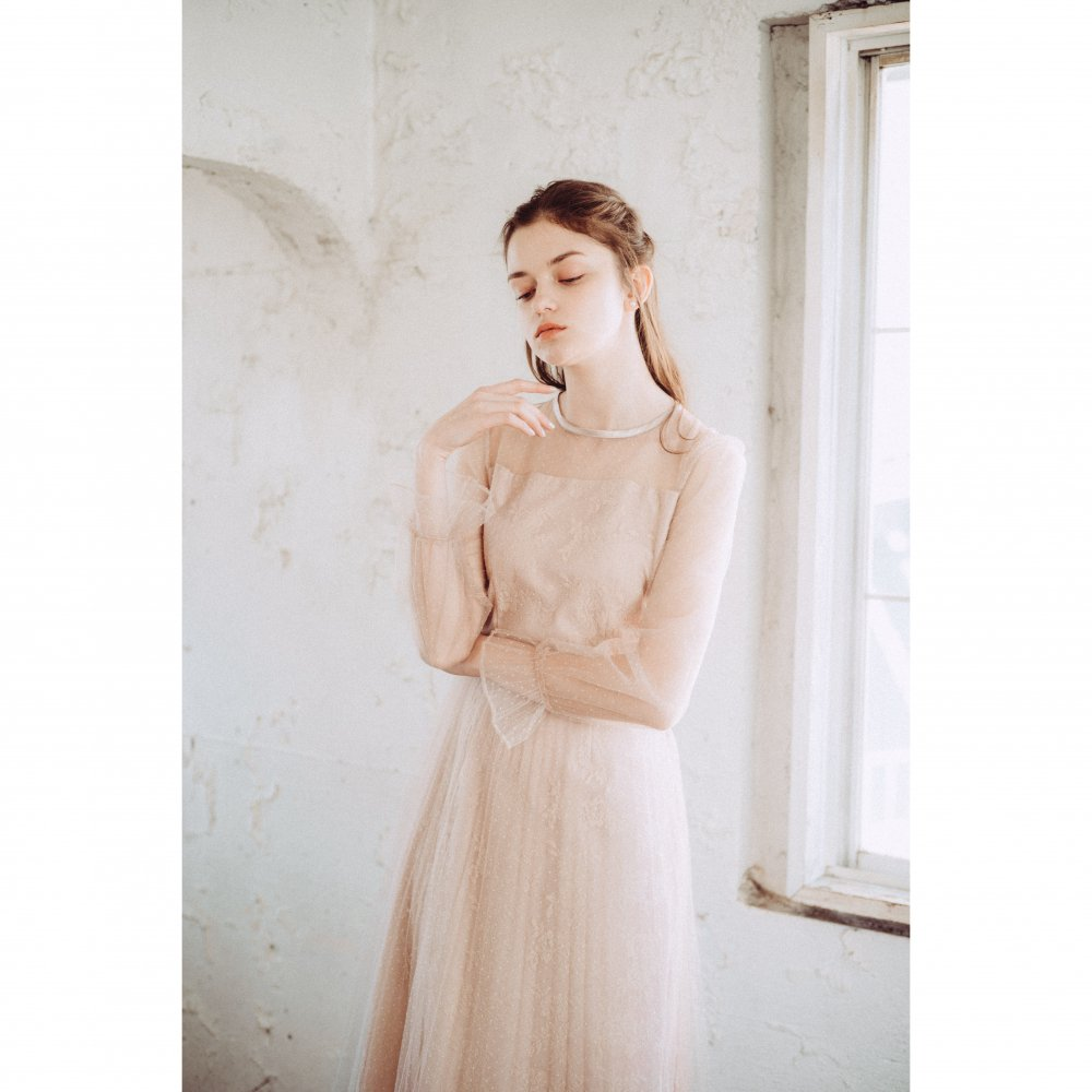 THE DOT TULLE PLEATED DRESS(PINK BEIGE)<img class='new_mark_img2' src='https://img.shop-pro.jp/img/new/icons21.gif' style='border:none;display:inline;margin:0px;padding:0px;width:auto;' />